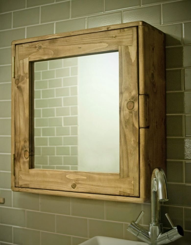bathroom cabinet wood natural eco friendly mirror rustic