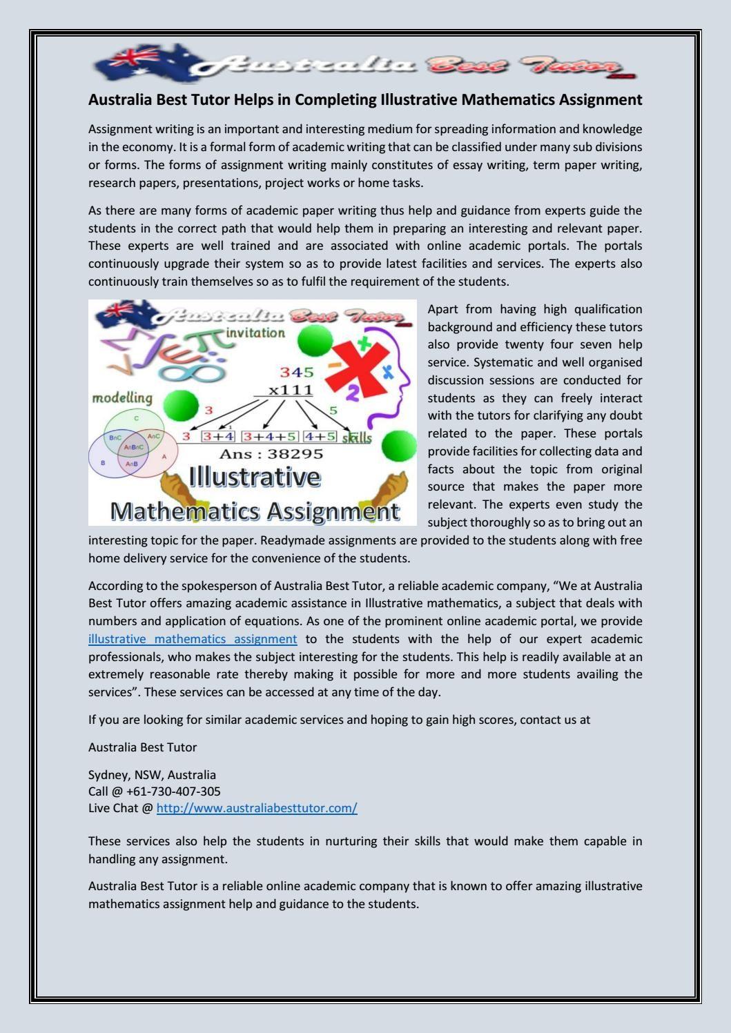 Australia best tutor helps in completing illustrative mathematics ...