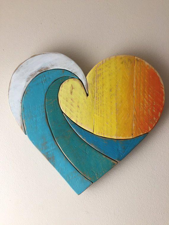 Wave Rainbow Sunset 14 Wood Heart Wall Beach Art Reclaimed