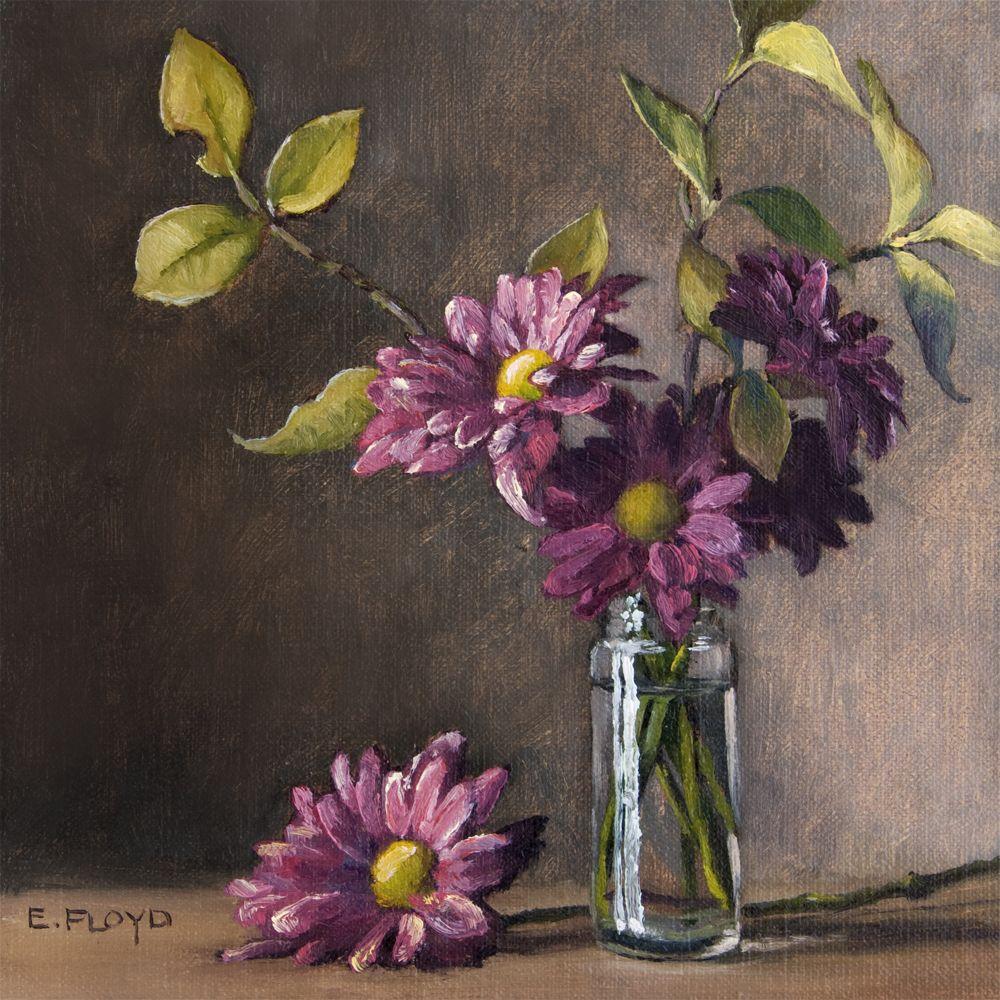 Konda Art Framed Handmade Purple Flower Oil Painting On: Purple Mums In A Spice Jar By Elizabeth Floyd