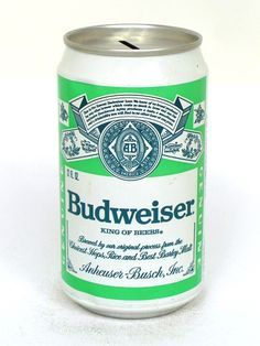 Green Budweiser Beer Can Bank Top Old Beer Cans Lager Beer Budweiser Beer
