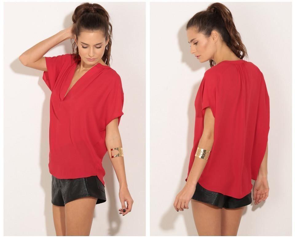 Women Plus Size 2 Color Short Sleeve Deep V Collar Polyester Blouse