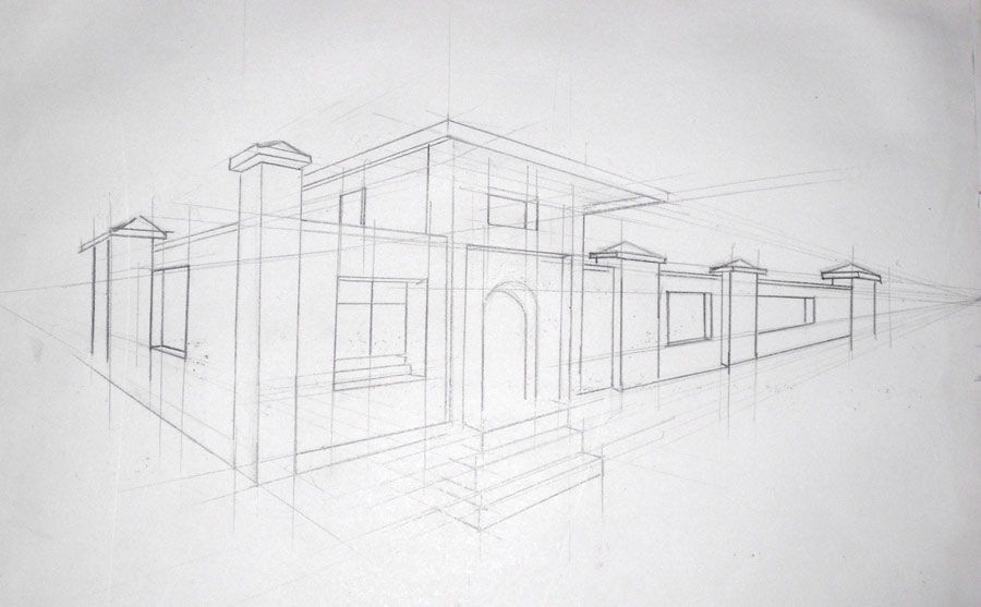 City in 2 point perspective art pinterest for Modern house 2 point perspective