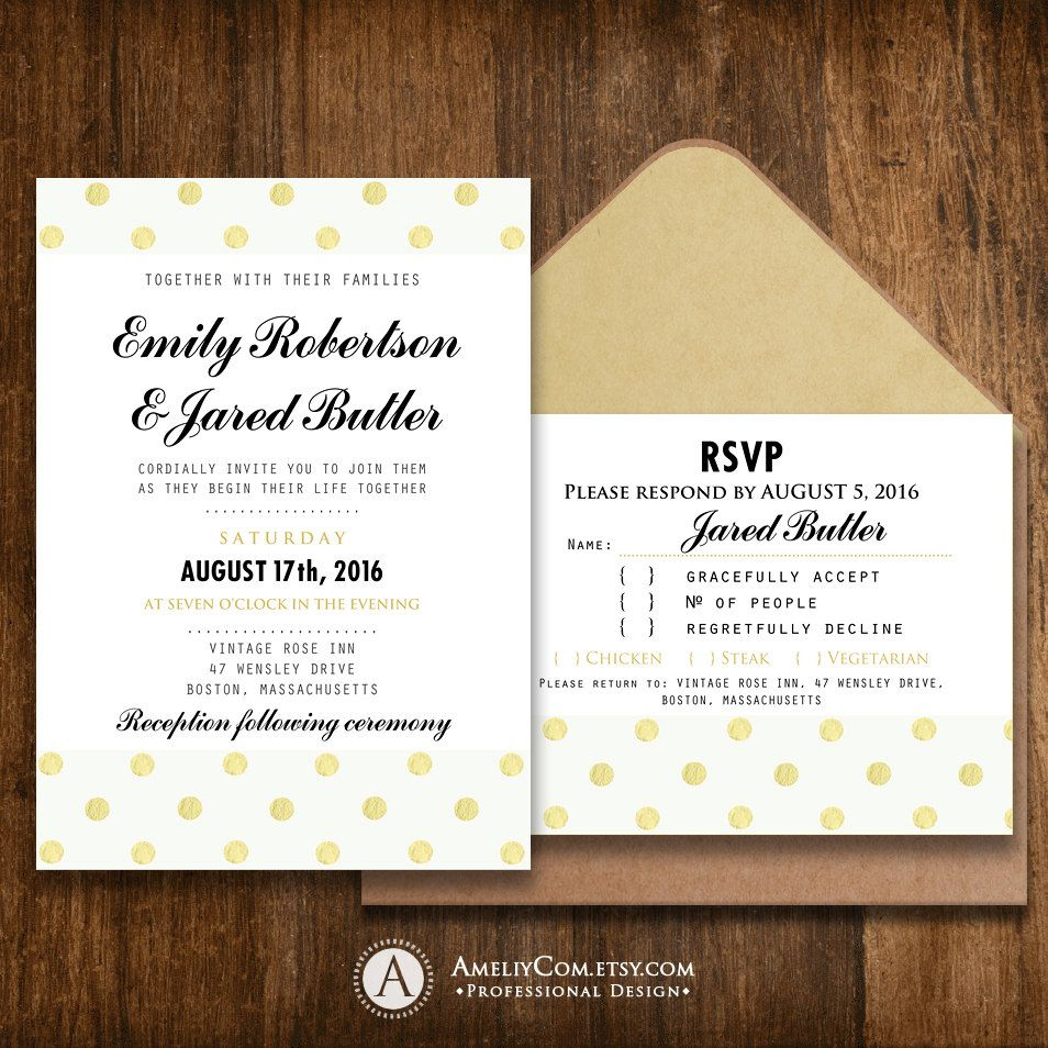 Printable Wedding Invitation Rsvp Girly Gold Polka Dots Weddi Wedding Invitations Printable Templates Wedding Invitations Rsvp Printing Wedding Invitations