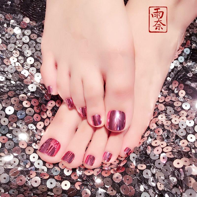 Charming Fake Toenails Champagne Purple Metallic False Nails Toes ...