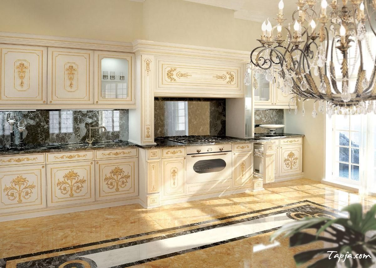 Stunning Luxury Photo Kitchen Design With Classic Crystal Chandelier Along White Gold Cabinet And