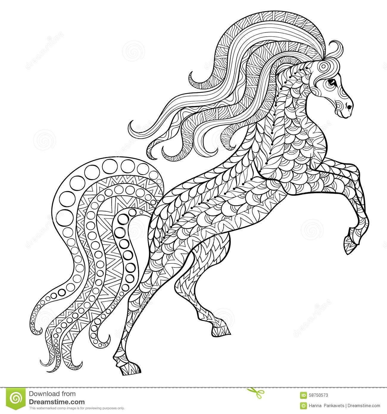 Animal Mandalas | Hand Drawn Horse For Antistress Coloring Page With ...
