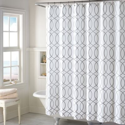 This Elegant Shower Curtain Completes Any Bathroom With The Geometric Hourglass Design In Grey And White