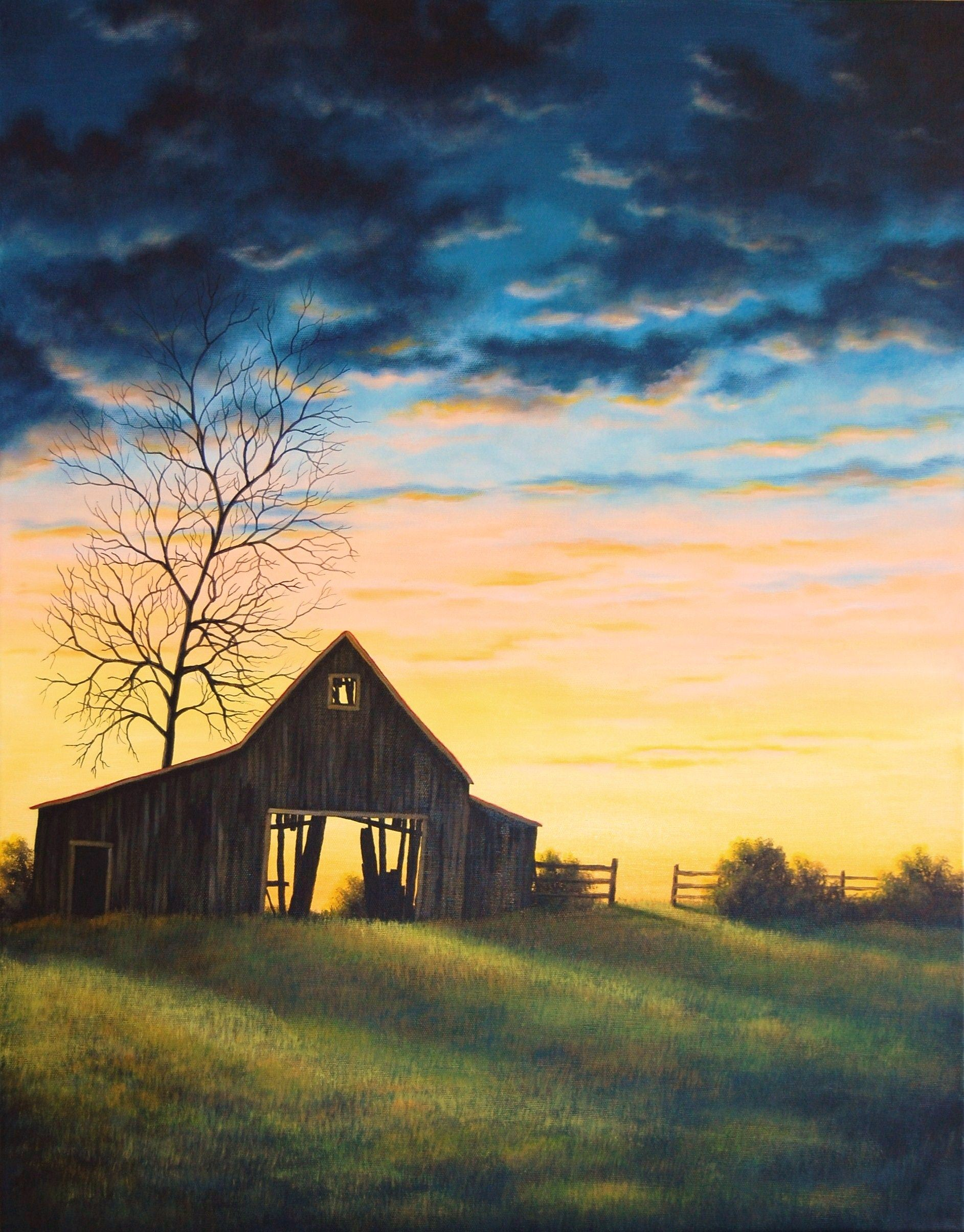 the last sunset barn farm 24x18 on stretched canvas Rustic Country Paintings id=26767