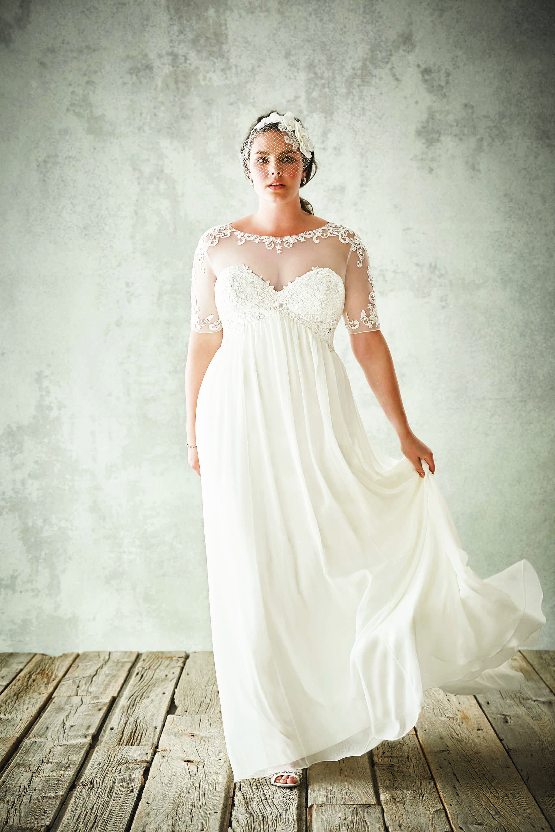 A line empire waist wedding dress  Fashion Plus Size Wedding Dresses With Half Sleeves Sheer Jewel Neck