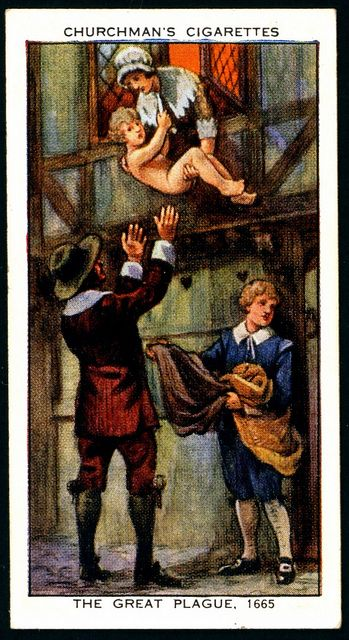 """Cigarette Card - The Great Plague of London, 1665  Churchman's Cigarettes """"The Story of London"""" (series of 50 issued in 1934)  #25 The Great Plague, 1665 ~ smuggling a child away from in infected house."""