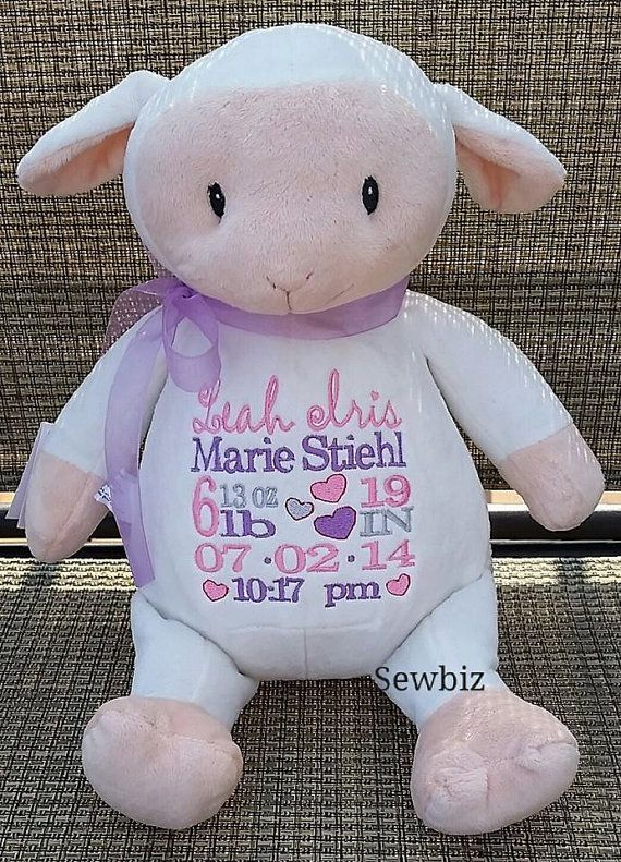 Personalized baby gift embroidered baby gift lamb stuffed animal personalized baby gift embroidered baby gift lamb stuffed animal birth announcement by sewbiz embroidery too negle Images