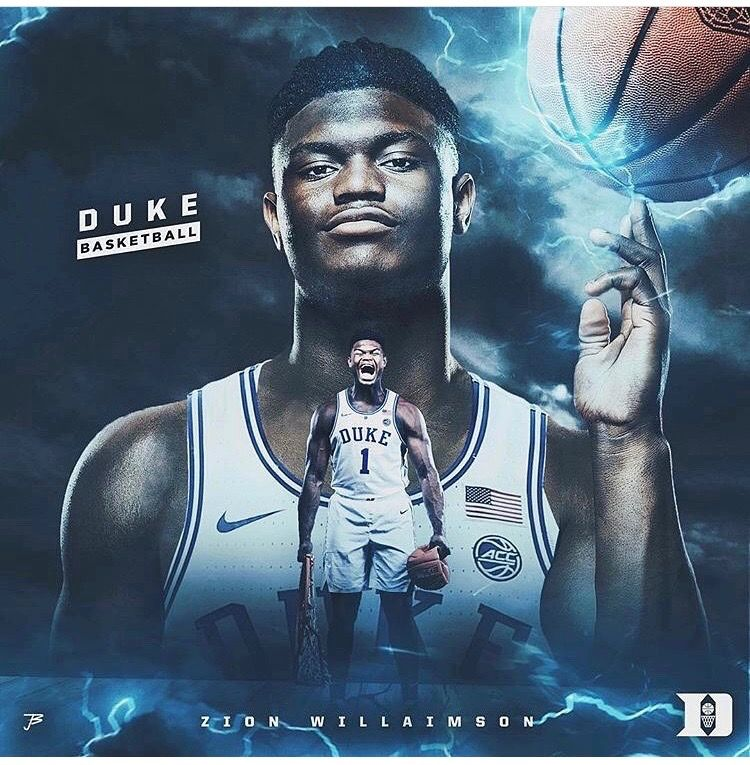 Zion Williamson Duke blue devils basketball, Duke blue