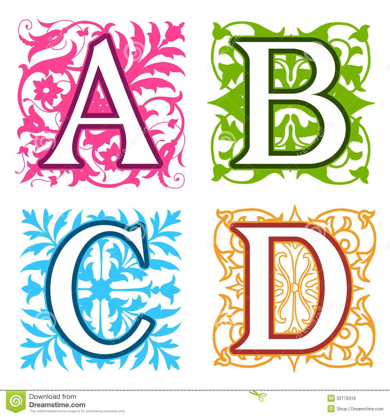 a b c d alphabet letters floral elements royalty free stock