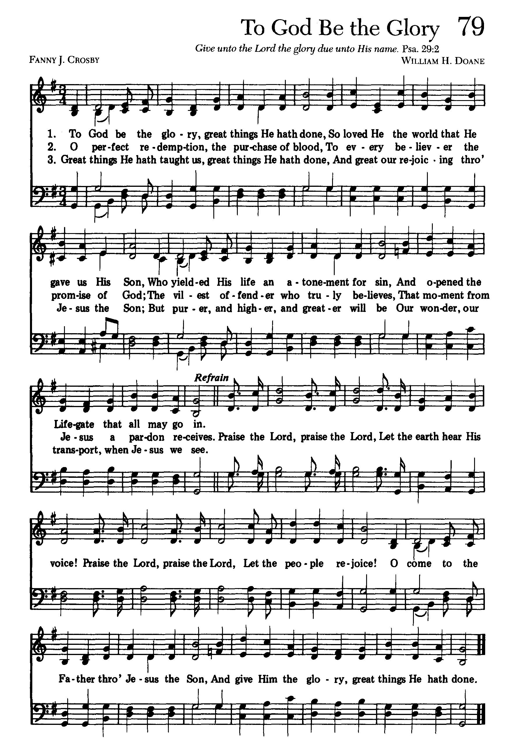 To God Be The Glory High 1742 2598 Hymn Sheet Music Hymn