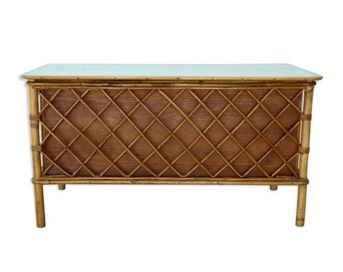 coffre jouets en rotin bambou et bois vintage coffre de rangement chambre enfant coffre. Black Bedroom Furniture Sets. Home Design Ideas