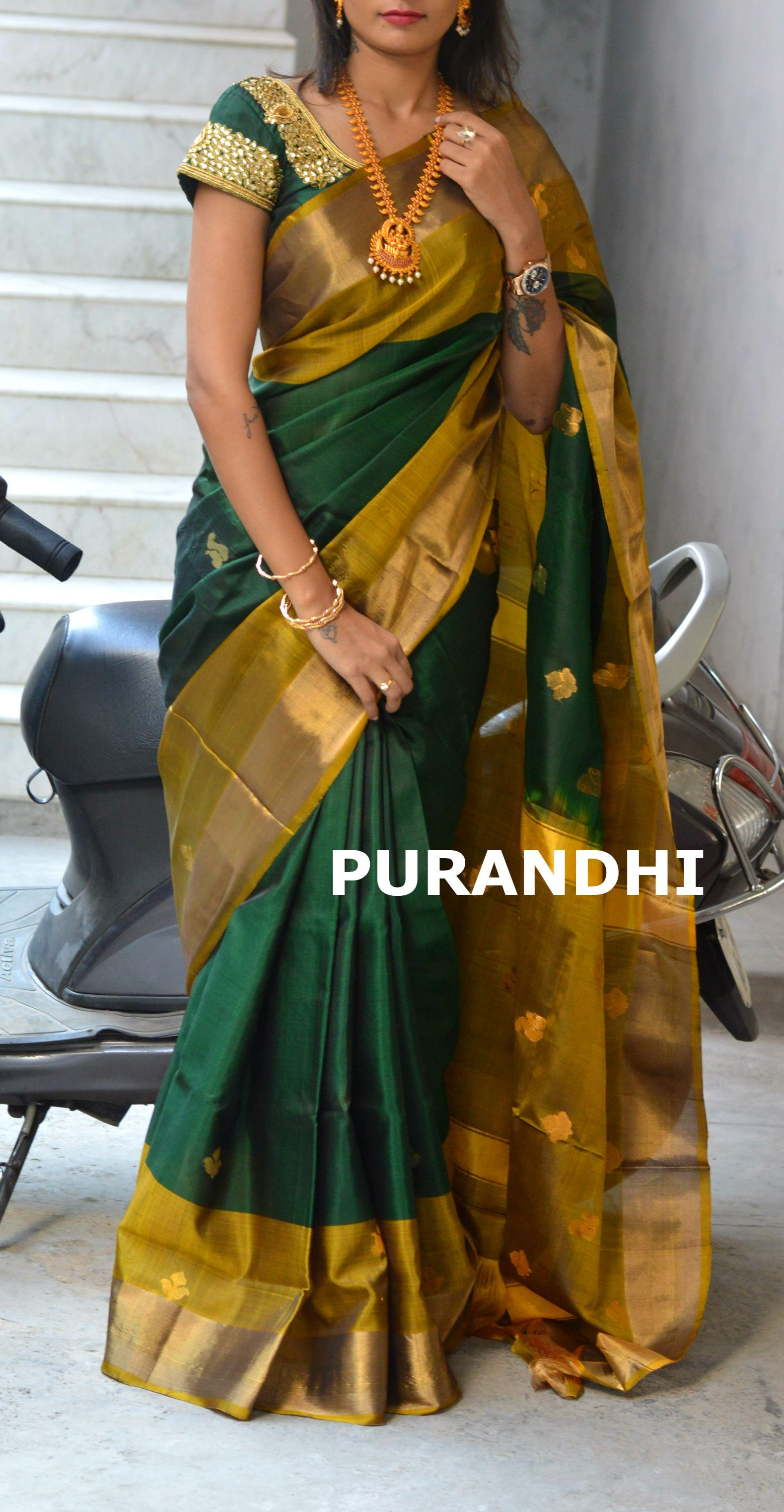 6516a993659852 Pure Uppada Pattu Checks Saree comes with Plain Red Blouse. Bottle Green uppada  pattu saree