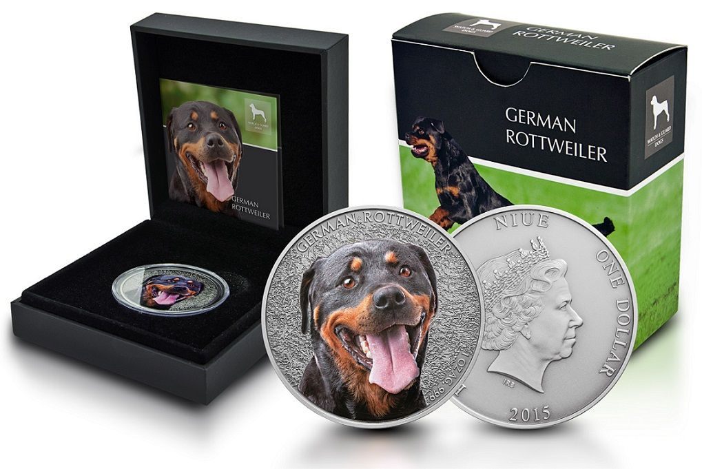 Niue 1oz Silber German Rottweiler (Deutscher Rottweiler) 2015 COA Limited Edition Antique-Finish
