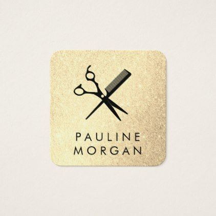 #makeupartist - #Shear and Comb Elegant Glitter Square Business Card