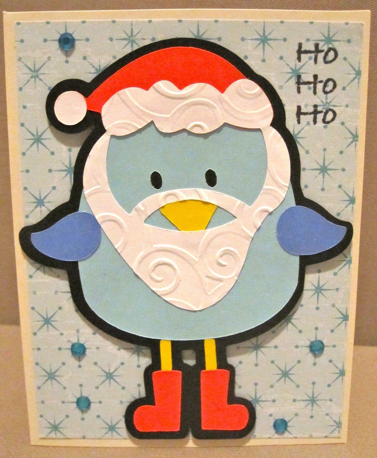 Scrapbook ideas using cricut - Christmas Card Using Cricut 3 Birds On Parade Cartridge Embossed With Cuttlebug