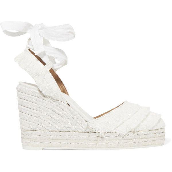 White wedge shoes, White platform sandals