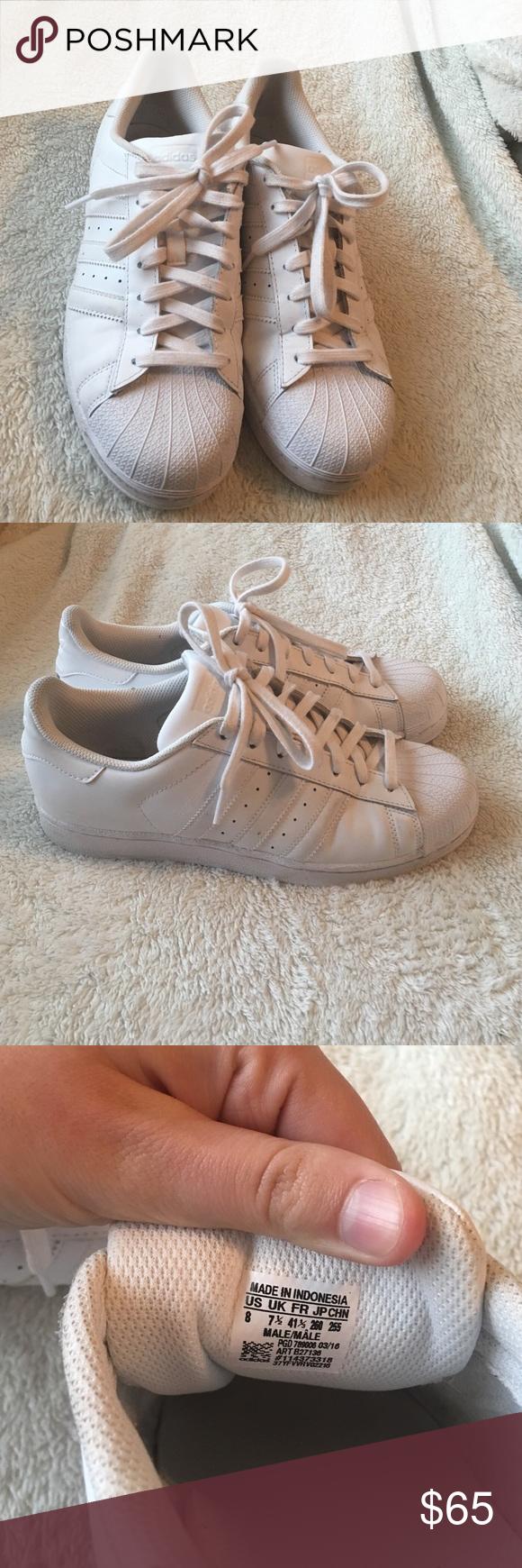 adidas superstar bianco indossato solo un paio di scarpe adidas