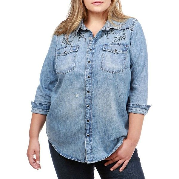 1ea4c242334219 Lucky Brand Women s Plus Western Denim Button-Down Shirt ( 67) ❤ liked on  Polyvore featuring plus size women s fashion