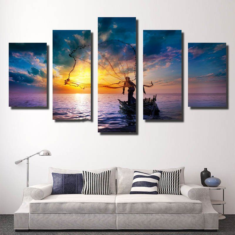 wooden frames 5 piece fishing canvas - Wood Frames For Canvas Paintings