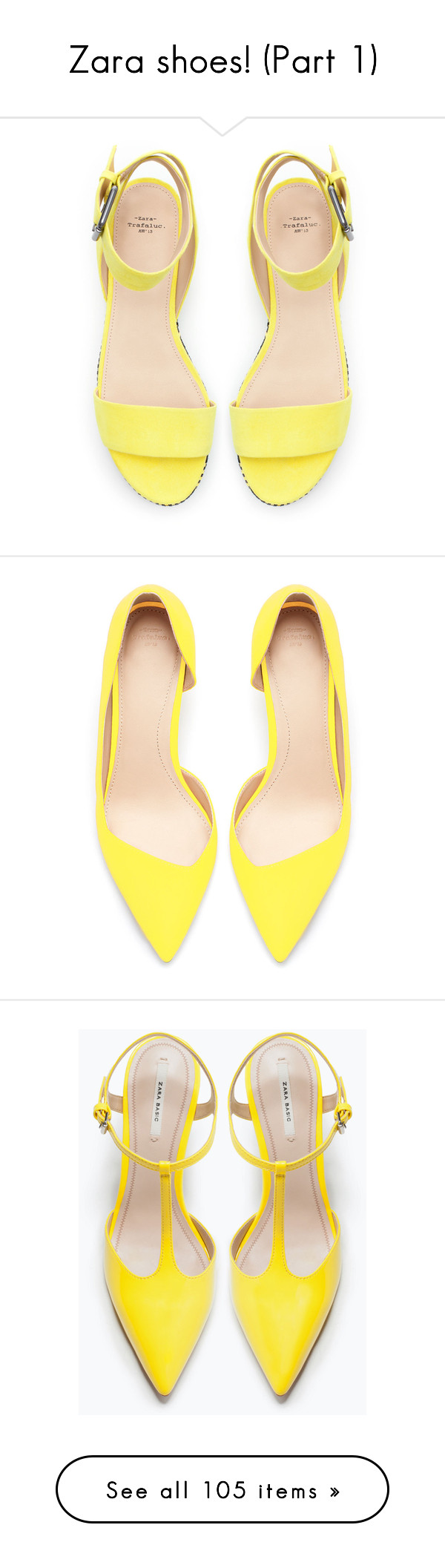 """""""Zara shoes! (Part 1)"""" by blueladybird ❤ liked on Polyvore featuring shoes, sandals, heels, flats, yellow, zara shoes, zara sandals, heeled flats, heeled sandals ve yellow shoes"""