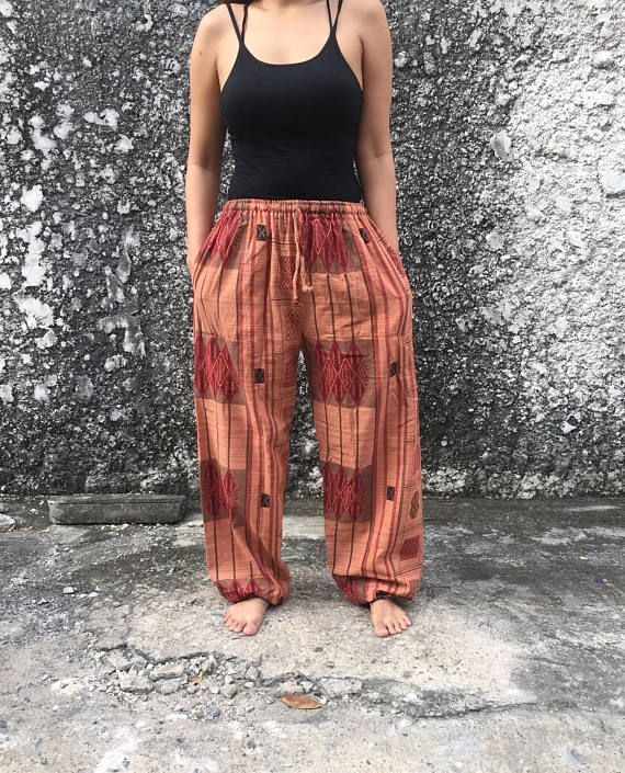 Cotton Boho Pants Vegan Trousers Straight Leg Yoga Harem
