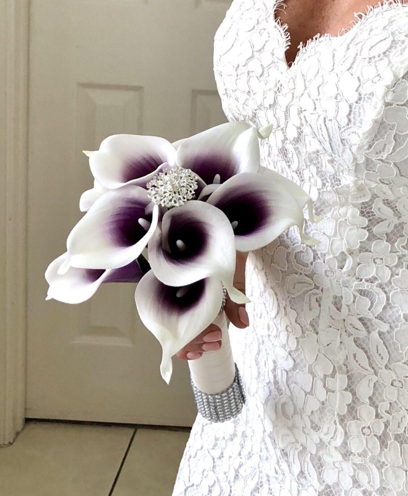 Plum Bouquet Brooch Bouquet Ca Picasso Purple Bouquet Purple Calla Lily Bridesmaid Bouquet Bling Bouquet Real Touch Calla Lily Bouquet