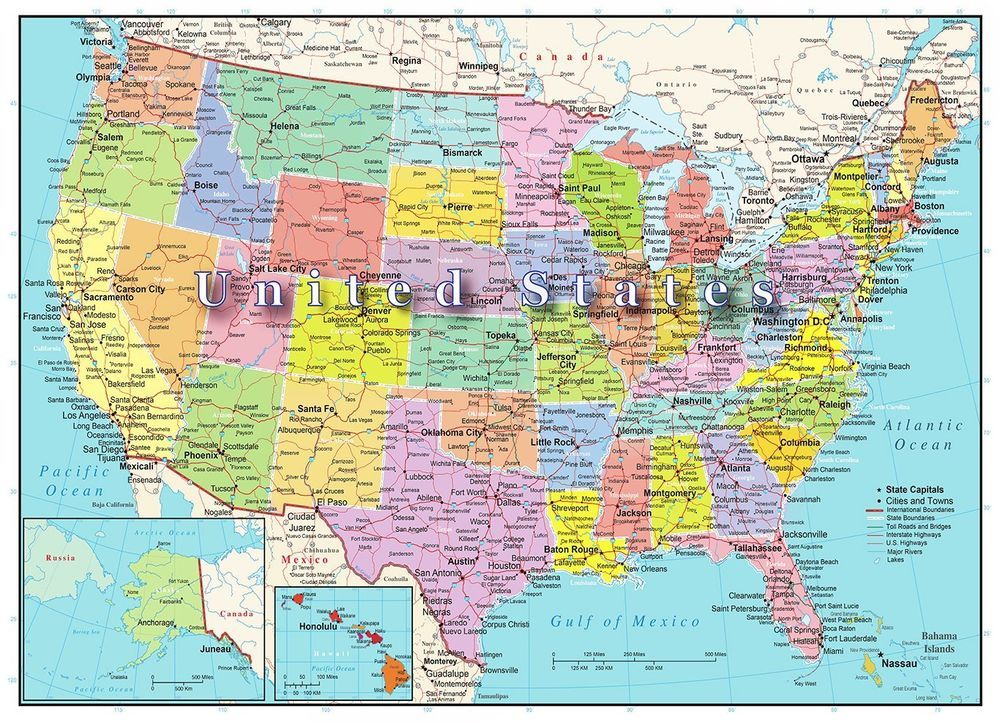 USA United States of America Map Puzzle 1000 Piece Jigsaw Highways ...