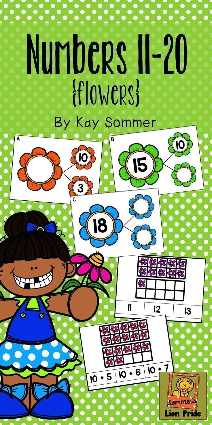 Numbers 11-20 {flowers} | Number bonds, Ten frames and Maths