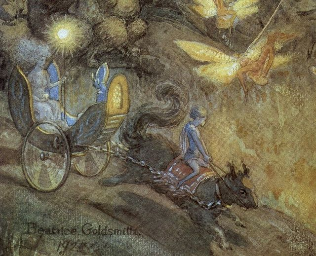 Beatrice Goldsmith 'Watching the Fairies' 1925 watercolour on paper (detail) by Plum leaves, via Flickr