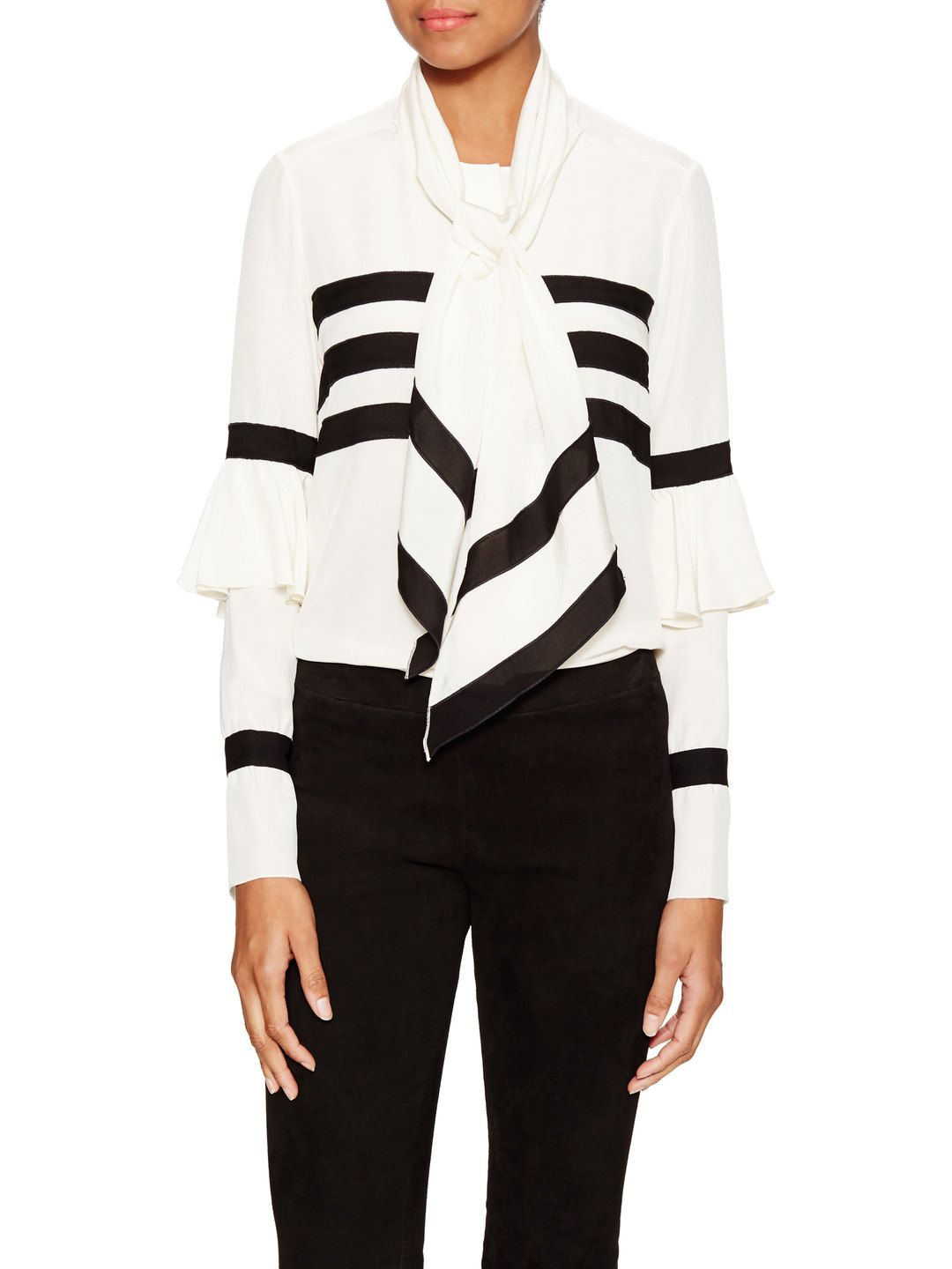 Neck Tie Striped Blouse by Issa at Gilt