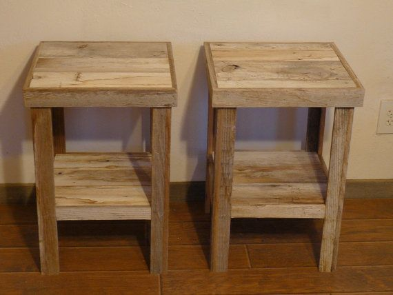 Reclaimed barnwood wood end table or night stand pair - Reclaimed Barnwood Wood End Table Or Night Stand Pair Tables
