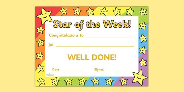 30 Star Of The Week School Awards Recognition Certificate Kg Education Star Of The Week Recognition Awards Star Students