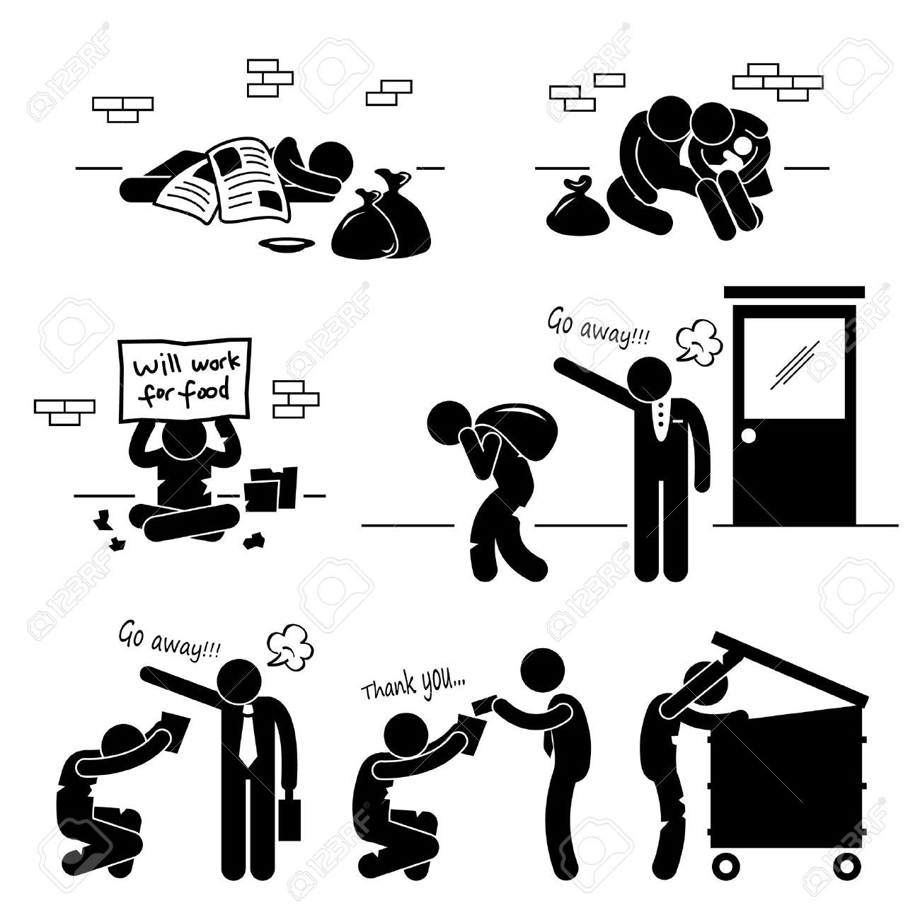 Homeless Man Family Beggar Jobless Stick Figure Pictogram Icon Stick Figures Man Clipart Pictogram