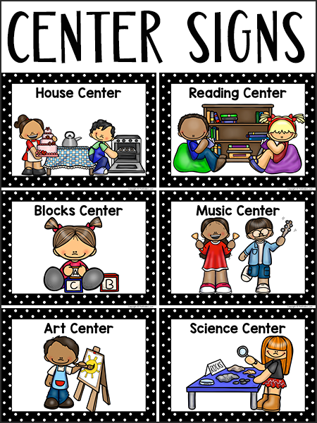 Center Signs For Pre K Preschool Early Childhood