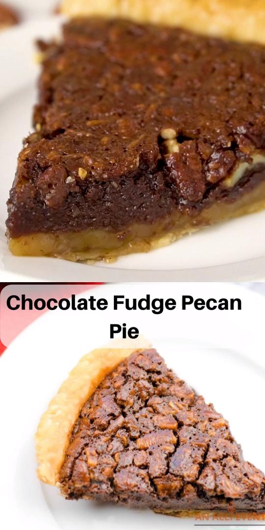 Chocolate Fudge Pecan Pie #pecanpierecipe