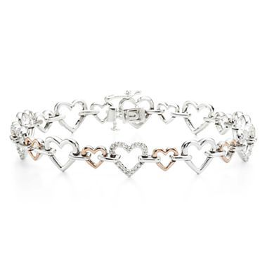 1/10CTTW Sterling Silver/Pink Gold Over Silver Accent Heart Fashion Bracelet - JCPenney