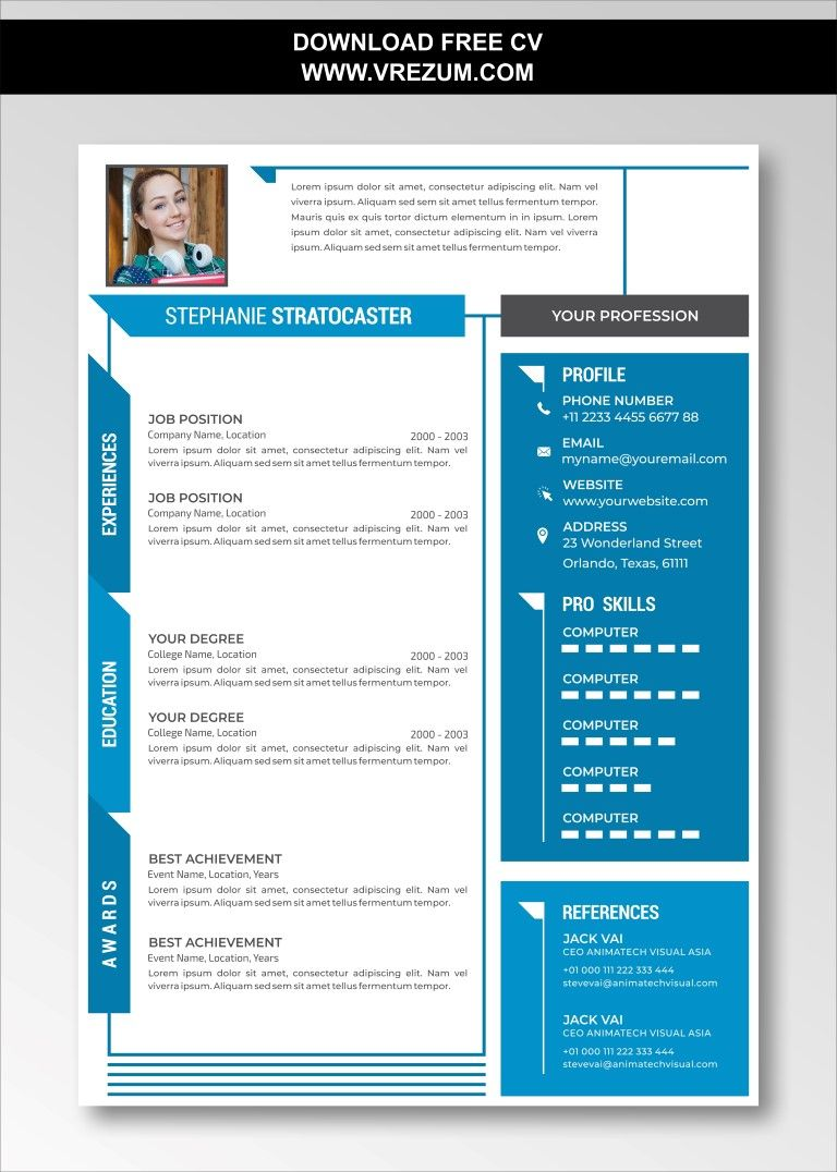 (EDITABLE) FREE CV Templates For Entry Level in 2020