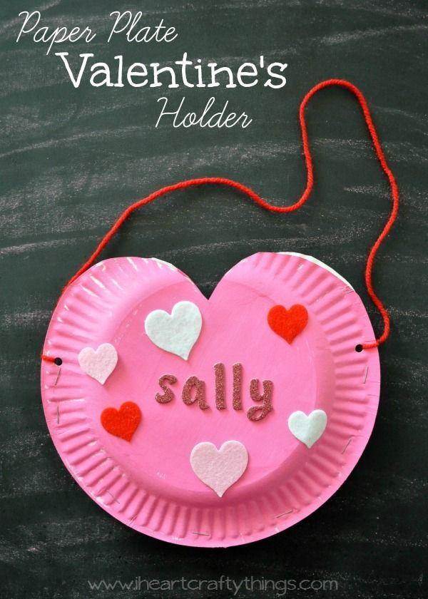 Paper Plate Heart Valentine S Holder Valentines Pinterest