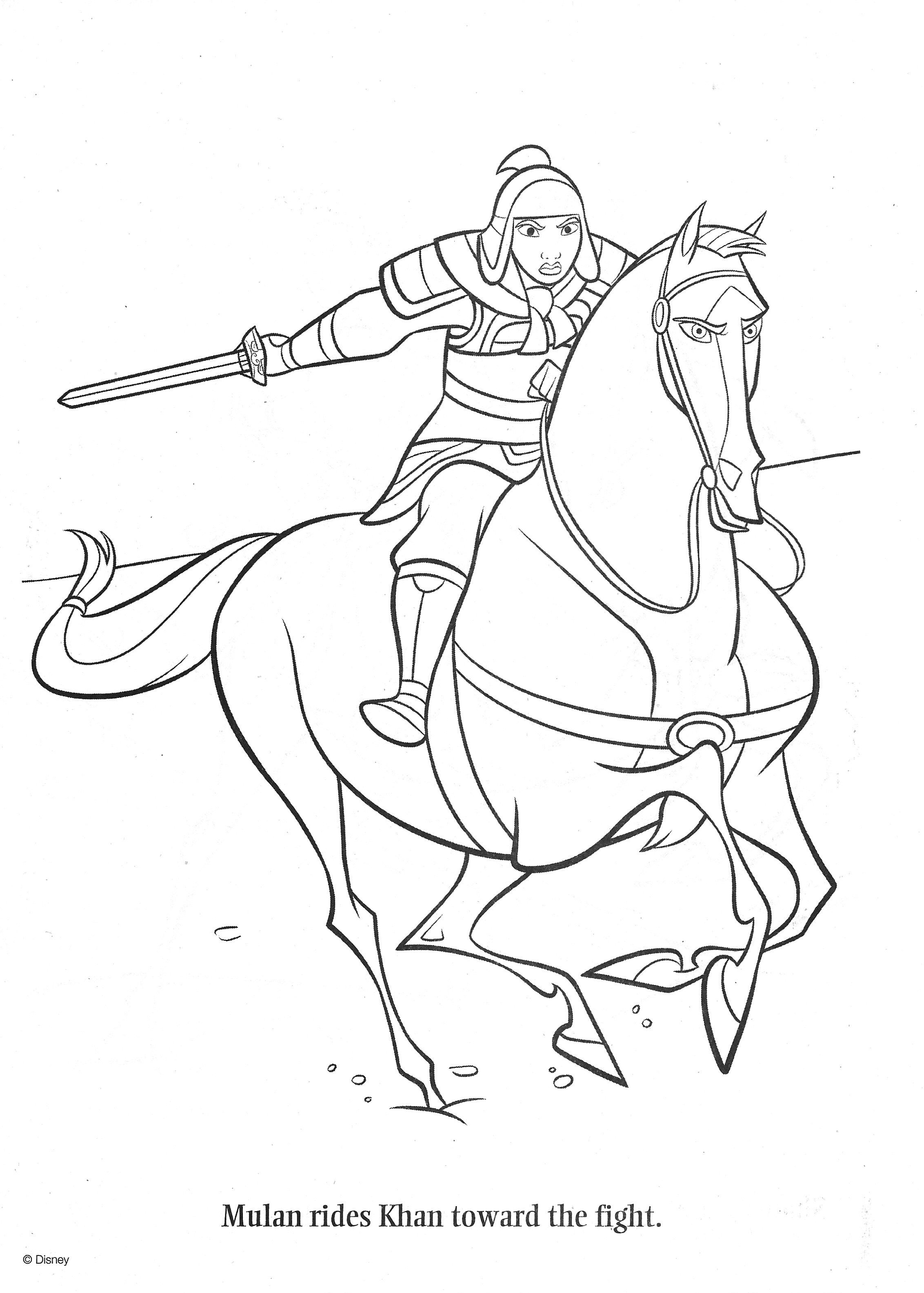 Mulan Coloring Page Horse Coloring Pages Horse Coloring Disney Horses [ 3170 x 2264 Pixel ]