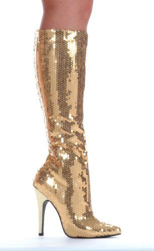 Gold 5 Inch Heel Sequins Knee High Boot just scream glam!
