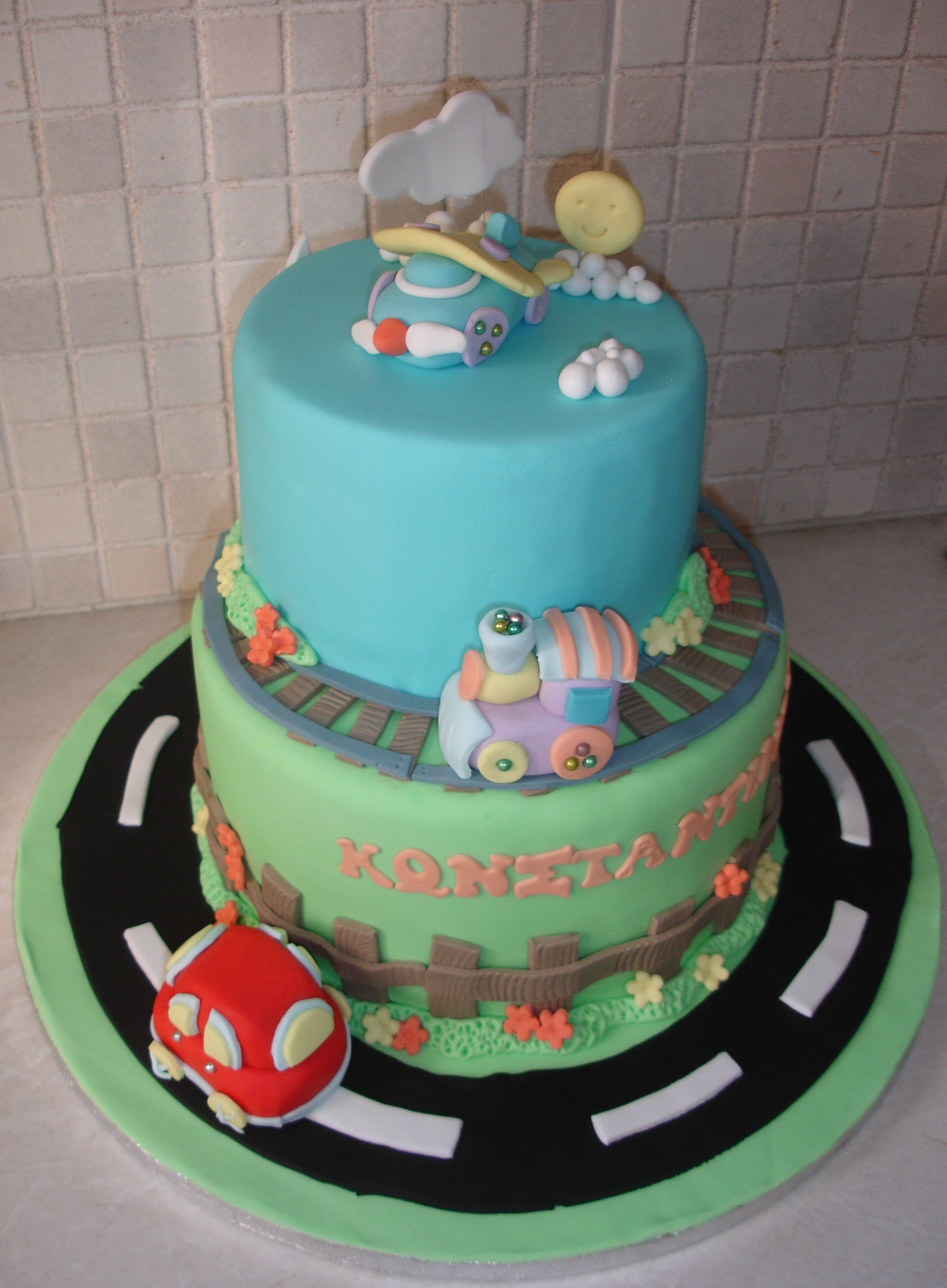 - Cake with a car,train and airplane for Constantinos 3rd bday party. All hand made and edible! *for simplicity replace the fondant car/train and plane with toys.