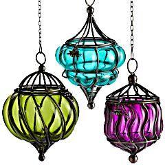 Assorted Hanging Glass Lanterns