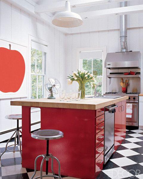 inspiring red black kitchen floor white cabinets   KITCHEN - Sarah Jessica Parker - Hamptons kitchen - red ...