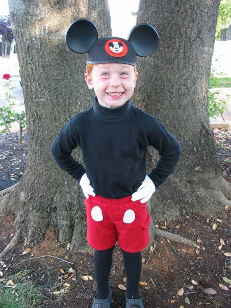 homemade mickey mouse costume yellow buttons instead of white paint nose black - Baby Mickey Mouse Halloween Costume
