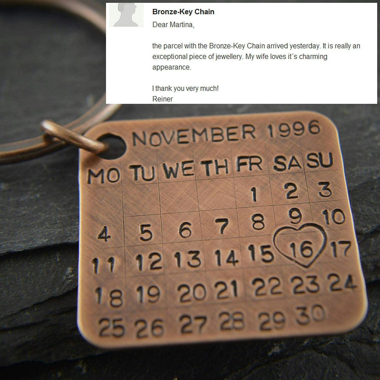 Personalized Calendar Keychain Copper Anniversary Gifts Fiance Gift Boyfriend Weddings Couple Keychains